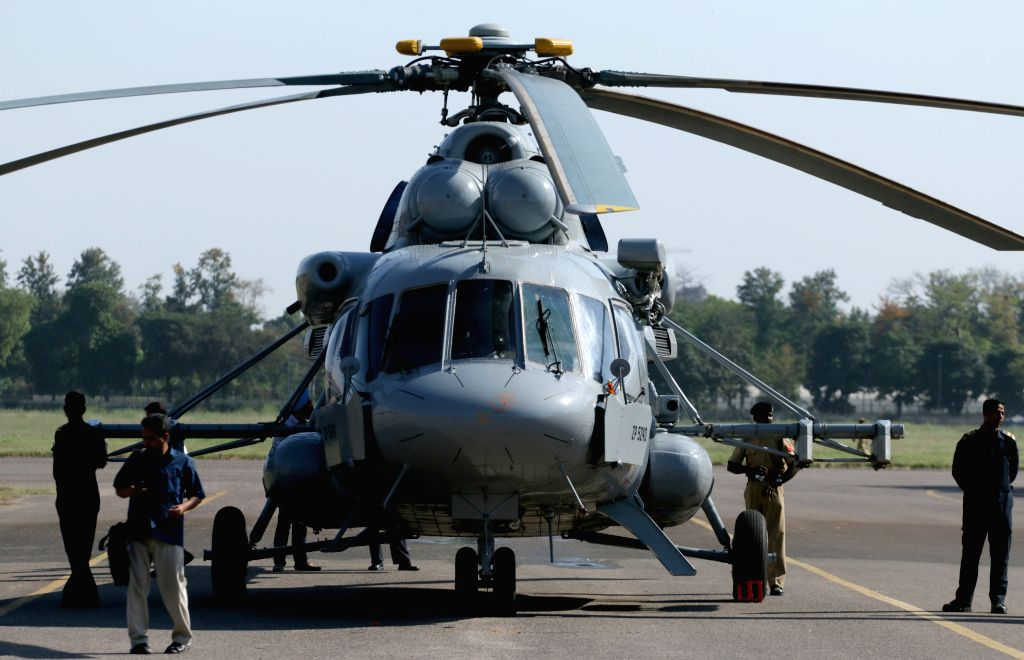 A Mi-17 V5 Helicopter during its Induction Ceremony into the BSF at Safdarjung Airport in New Delhi, on April 9, 2015.