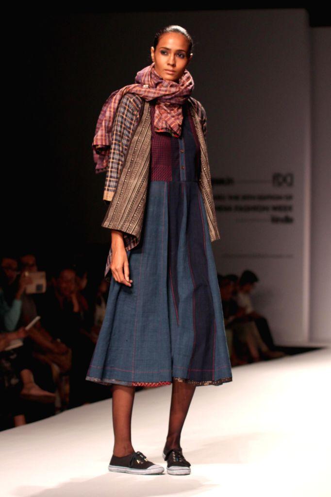 A model showcases fashion designer Paromita Banerjee`s creations during Amazon India Fashion Week in New Delhi, on March 27, 2015.