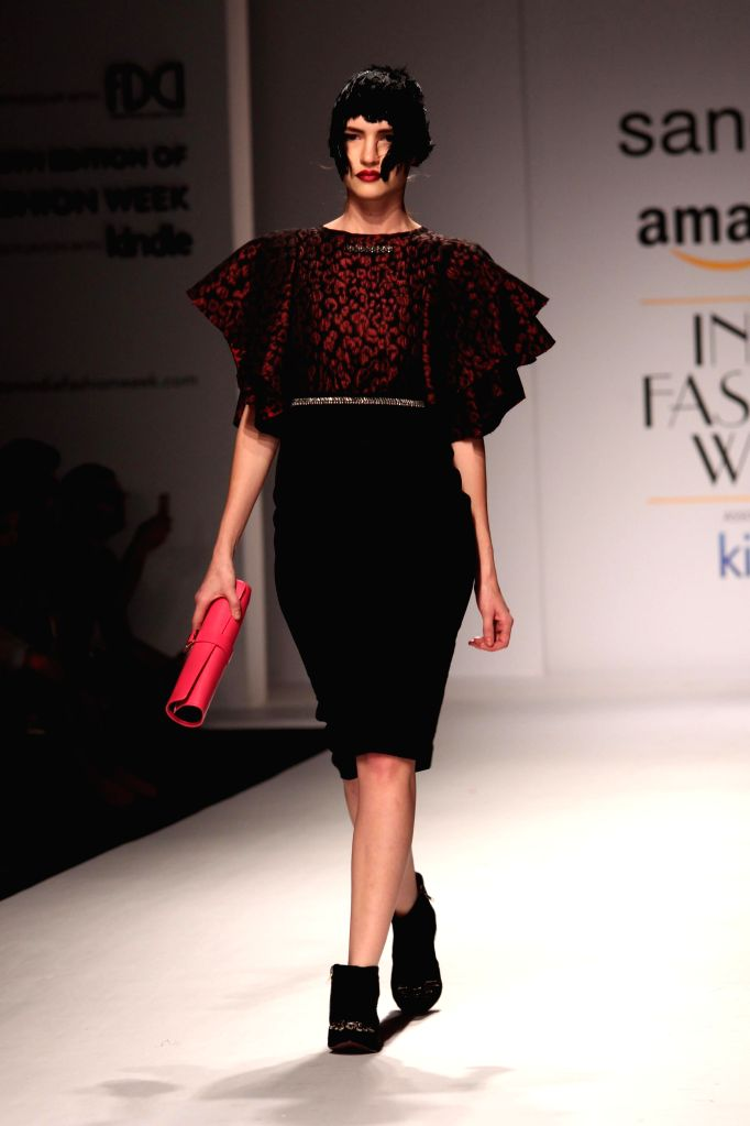 A model showcases fashion designer Sanchita Ajjampur`s creations during Amazon India Fashion Week in New Delhi, on March 27, 2015.
