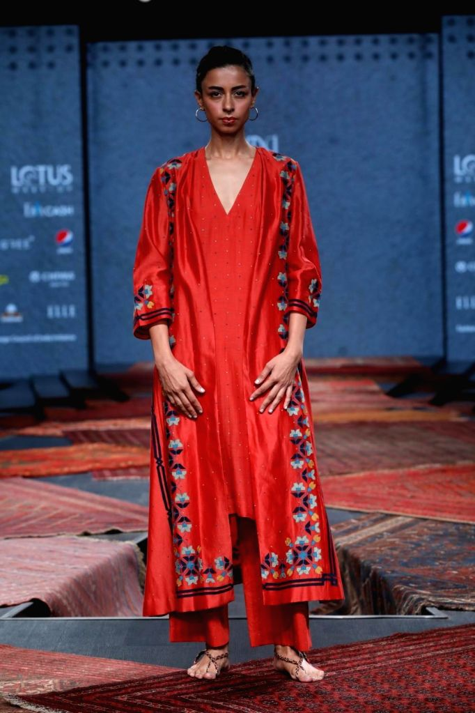 New Delhi: A model showcases the collection from fashion designer Ragini Ahuja's fashion label Ikai on the first day of Lotus Make-up India Fashion Week, in New Delhi on Oct 9, 2019. (Photo: IANS)