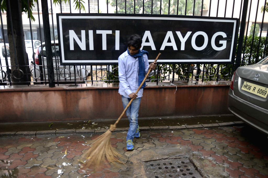 A NITI  (National Institution for Transforming India) Aayog board comes up at the former Yojana Bhawan building in New Delhi, on Jan 2, 2015.