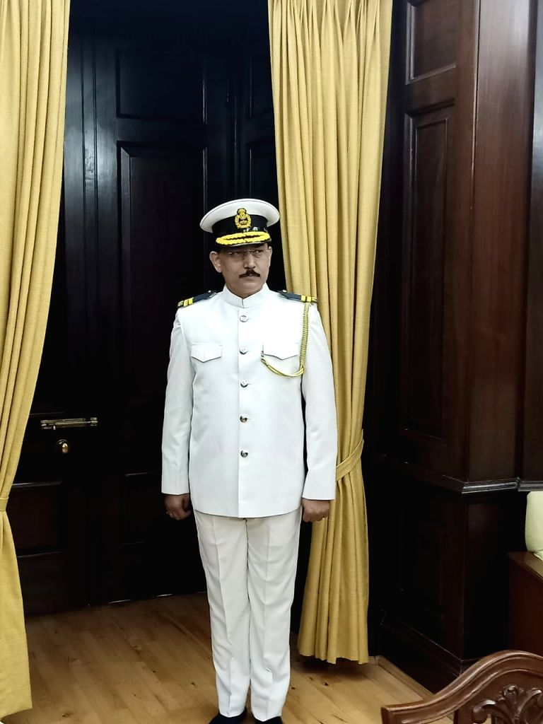 New Delhi:  A Rajya Sabha marshal in a new white uniform, resembling that of a Navy officer, that the marshals are likely to wear during the sessions in the summer season. As the 250th session of the Rajya Sabha began on Monday, the marshals appeared