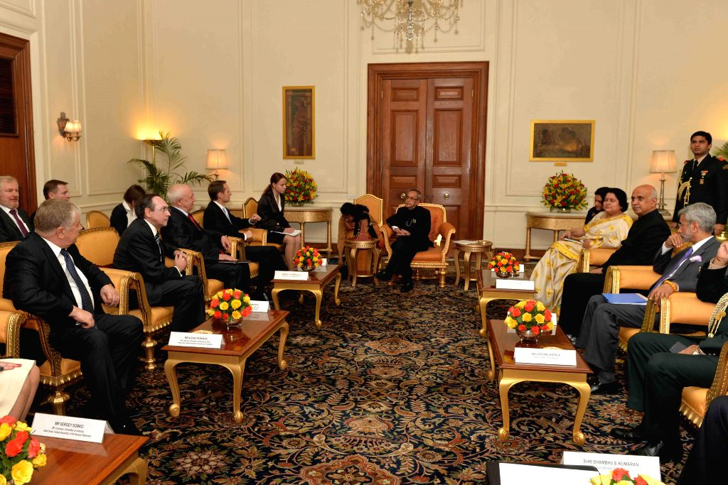 A Russian Parliamentary delegation led by the Chairman of State Duma, Federal Assembly of Russian Federation, Sergey Naryshkin calls on President Pranab Mukherjee at Rashtrapati Bhavan in ... - Pranab Mukherjee