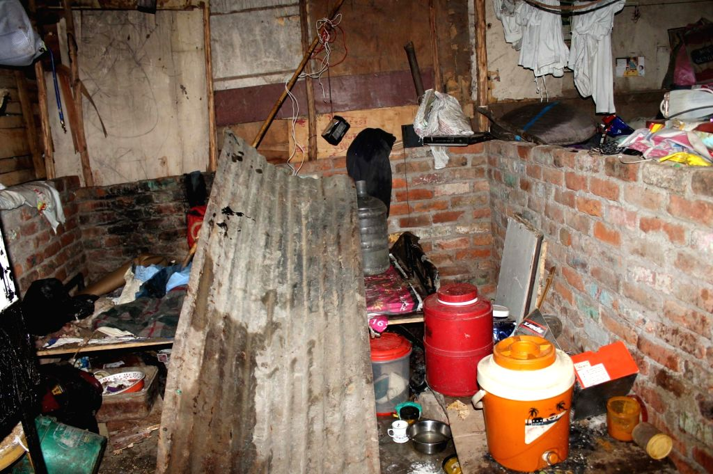 New Delhi: A shanty in West Delhi's Moti Nagar area where a cylinder exploded, injuring five persons including a 5-year-old girl, on July 17, 2019. According to a fire official, six fire tenders were rushed to the spot. The injured were admitted to a