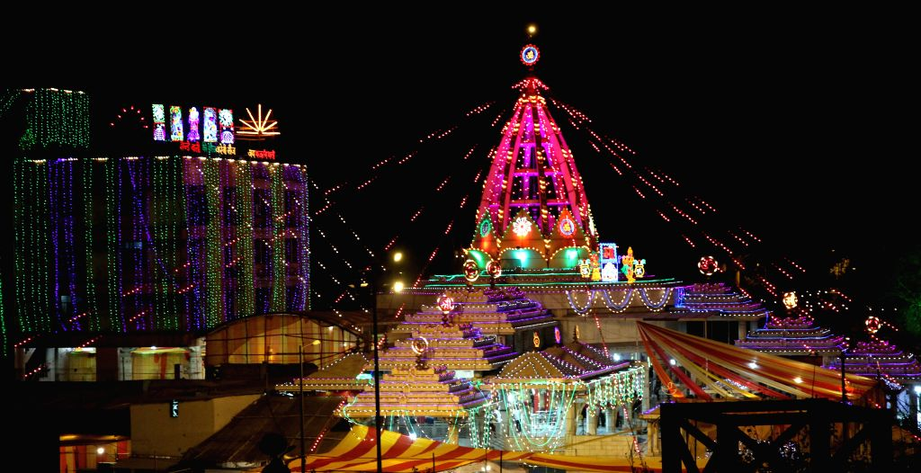 A spectacular view of the illuminated Jhandewalan Temple ahead of Navratri in New Delhi, on March 20, 2015.