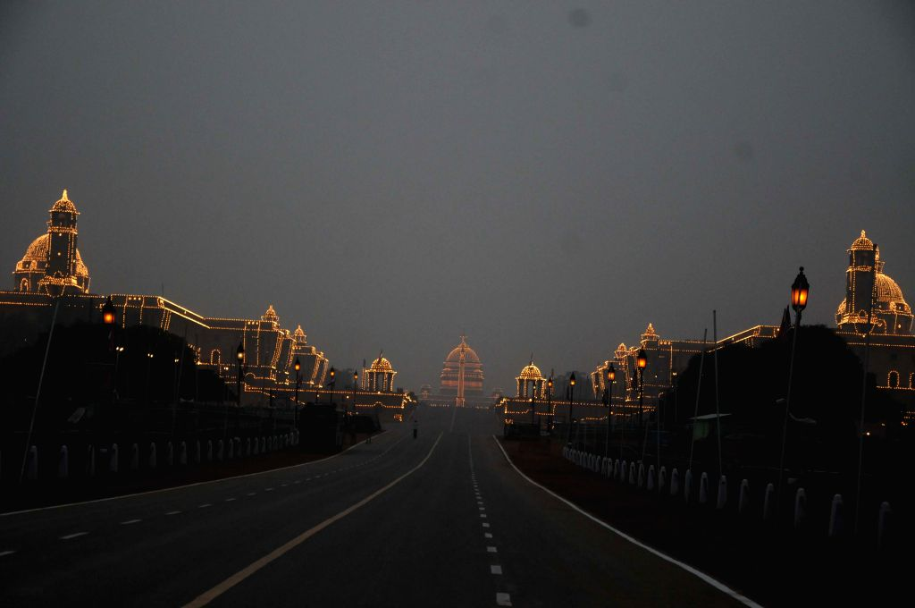 A spectacular view of the Rashtrapati Bhawan on the eve of Republic Day in New Delhi, on Jan 25, 2015.