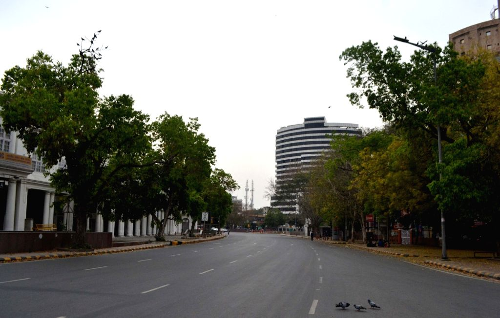 New Delhi: A street in Delhi's Connaught Place bears a deserted look during complete lockdown imposed in 560 districts in 32 states and union territories across the country as precautionary measures to contain the spread of the coronavirus, in New De
