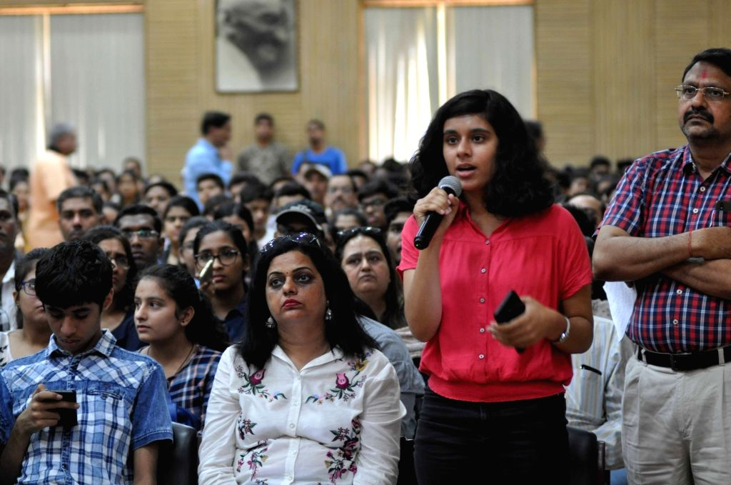 New Delhi: A student puts forward her query at a counselling session organised during the ongoing admissions at the Delhi University, on June 24, 2019. (Photo: IANS)