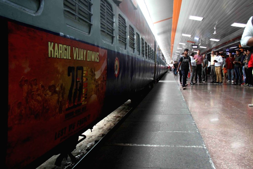 New Delhi: A train features 'Kargil Vijay Diwas' vinyl poster with the pictorial depiction of the bravery of the Army personnel, in New Delhi on July 17, 2019. (Photo: IANS)