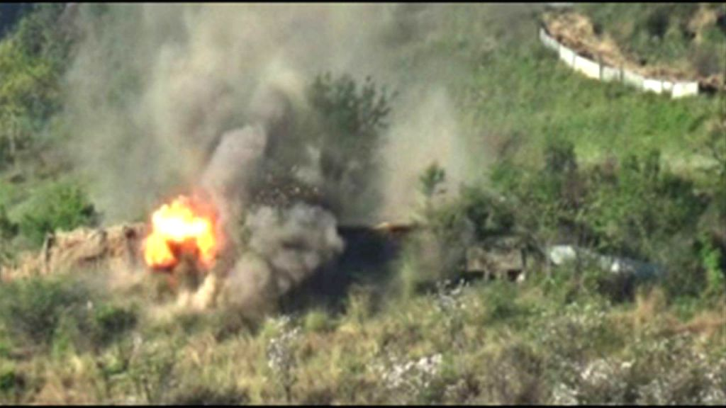 New Delhi: A video grab from the video clip released by Indian Army that shows  a forested area being bombed and smoke and fire billowing up after the explosion.  The Indian Army on Tuesday claimed to have decimated several Pakistani military posts a