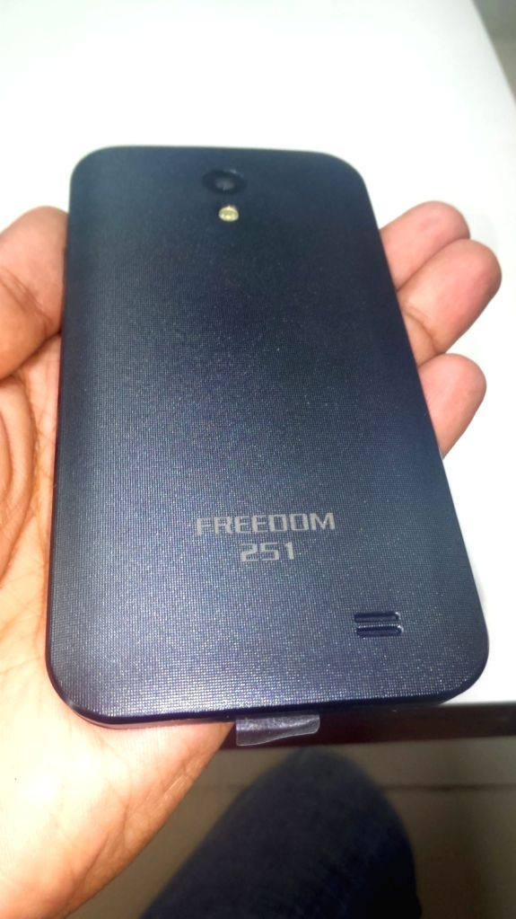 """New Delhi: A view of """"Freedom 251"""" smartphone in New Delhi on June 23, 2016. Freedom 251 is a dula-SIM 3G device that has a 1.3GHz quad-core processor, 1GB of RAM and 8GB of ..."""