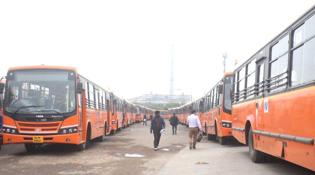 New Delhi: A view of newly 100 standard floor buses equipped with hydraulic lifts, CCTV cameras and panic button under the cluster scheme, which was flagded off by Delhi Chief Minister Arvind Kejriwal, in New Delhi on Nov 28, 2019. (Photo: IANS) - Arvind Kejriwal