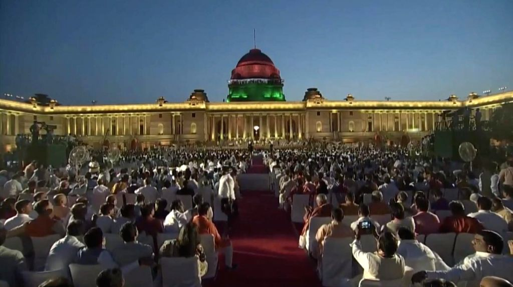 New Delhi: A view of the Rashtrapati Bhavan during Prime Minister Narendra Modi's swearing-in ceremony, in New Delhi on May 30, 2019. (Photo: IANS) - Narendra Modi