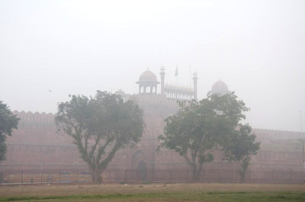 A view of the Red Fort on a foggy morning in New Delhi.