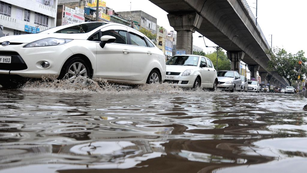 A view of waterlogged streets of New Delhi's Laxmi Nagar on March 2, 2015.