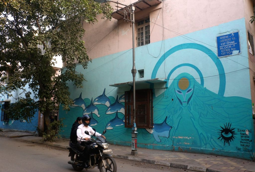 New Delhi: A wall painting - part of street art project that was inaugurated by the delegation of European union to India, on International Women's Day at Lodhi Art District, in New Delhi, on March 8, 2019. (Photo: IANS)