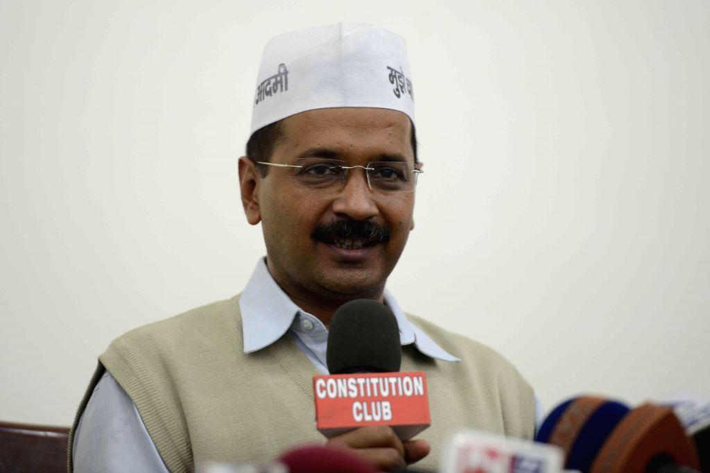 Aam Aadmi Party (AAP) leader Arvind Kejriwal during a press conference in New Delhi, on Nov 12, 2014. - Arvind Kejriwal