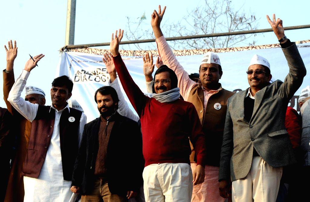 Aam Aadmi Party (AAP) leader Arvind Kejriwal addresses at the `Delhi's Village Dialogue` held at Chhatarpur, in New Delhi on Jan,04,2015.