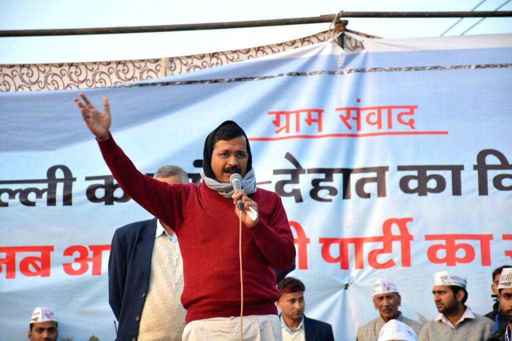 Aam Aadmi Party (AAP) leader Arvind Kejriwal at the `Delhi's Village Dialogue` held at Chhatarpur, in New Delhi on Jan,04,2015.