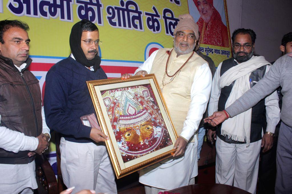 Aam Aadmi Party (AAP) leader Arvind Kejriwal during his visit to Kalka Temple in New Delhi, on Jan 6, 2015.