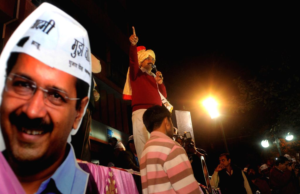 Aam Aadmi Party (AAP) leader Arvind Kejriwal addresses `Delhi Dialogue` during an election rally ahead of the upcoming Delhi Assembly Elections 2015 at old Rajender Nagar in New Delhi on ..