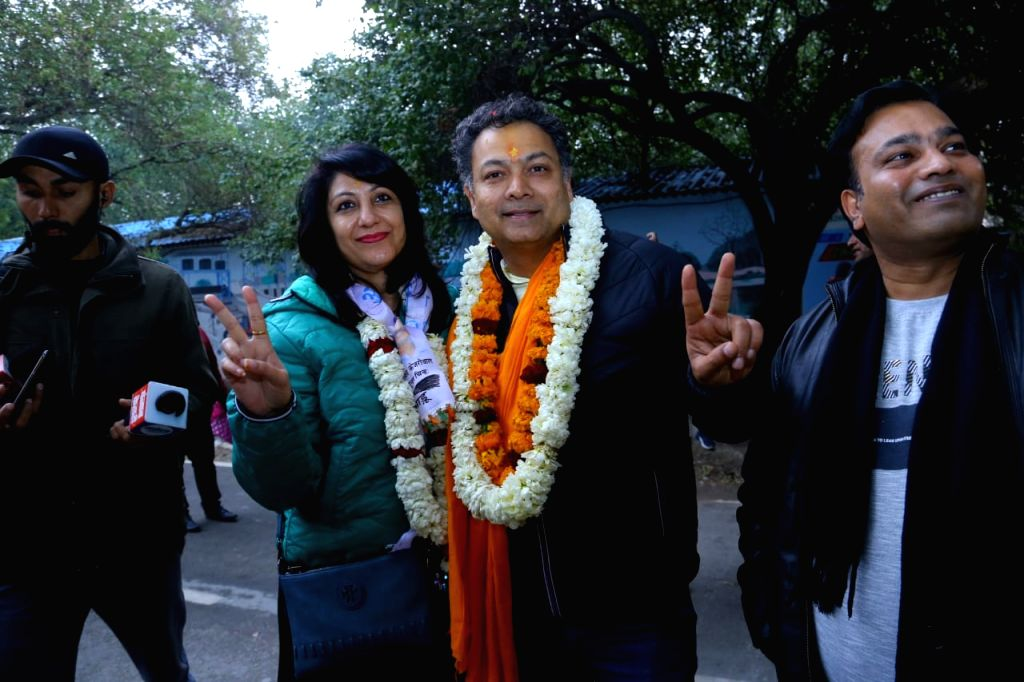 New Delhi: Aam Aadmi Party leader Nitin Tyagi along with his wife Puja Tyagi, comes out after filing his nomination papers for the February 8 Delhi Assembly polls, in New Delhi on Jan 16, 2020. (Photo: IANS)