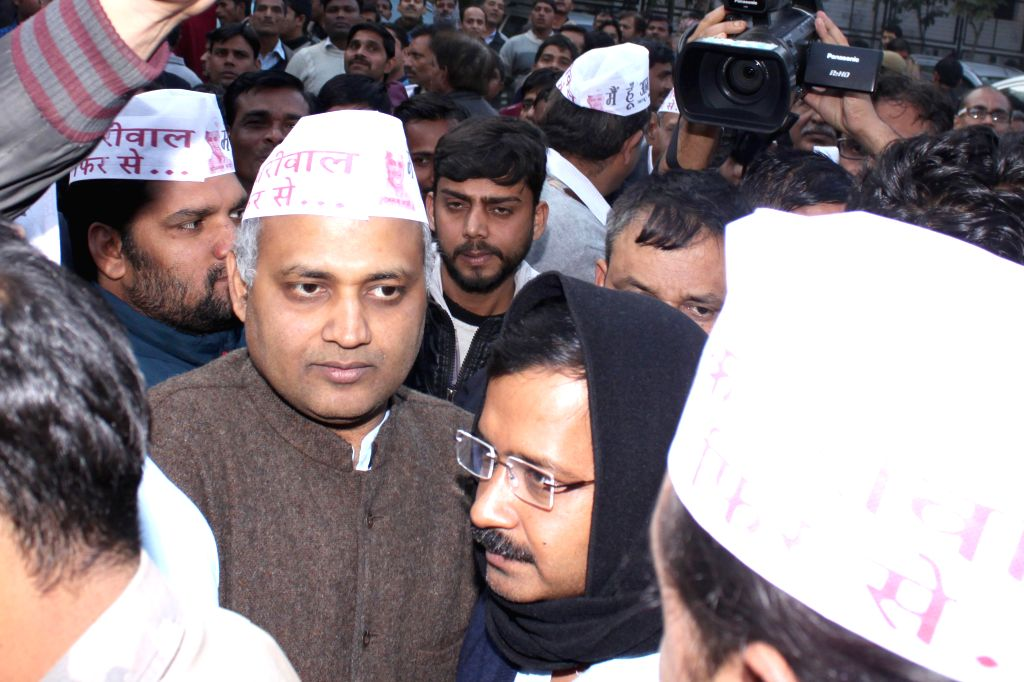 Aam Admi Party leader Arvind Kejriwal with party leader Somnath Bharti at Aam Admi Party`s fund raising event for the upcoming Assembly Polls `Coffee with Arvind Kejriwal`. This offer ...