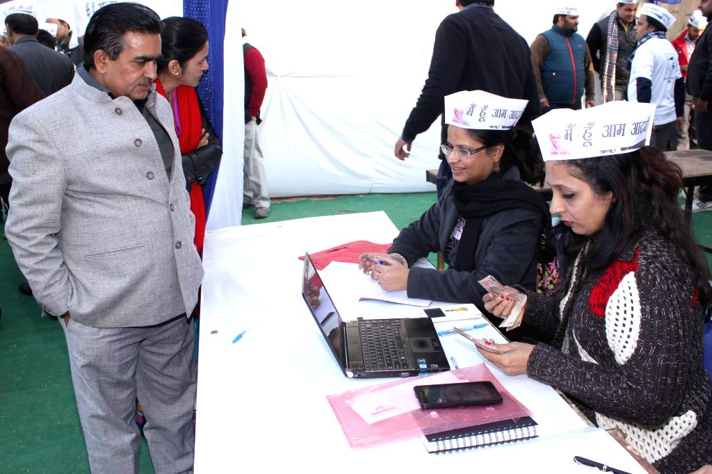 Aam Admi Party`s fund raising event for the upcoming Assembly Polls `Coffee with Arvind Kejriwal`. This offer comes with a Price Tag of Rs 20,000 per person, in New Delhi on Dec. 27, 2014.