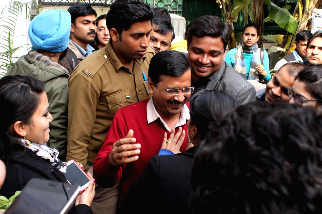 AAP leader Arvind Kejriwal during a press conference at AAP office in New Delhi on Feb, 1,2015.