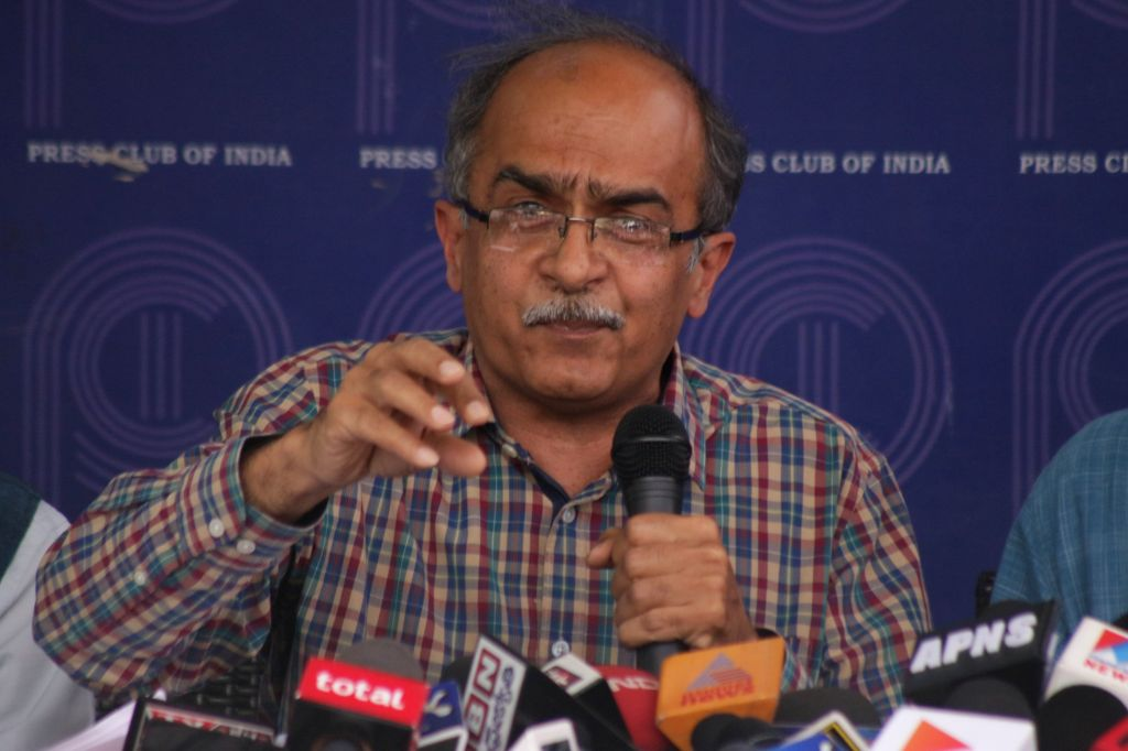 AAP leader Prashant Bhushan addresses a press conference at the Press Club of India in New Delhi, on March 27, 2015.