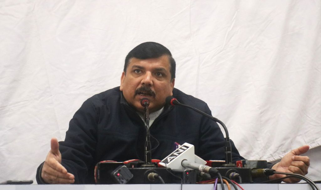 New Delhi: AAP leader Sanjay Singh addresses a press conference in New Delhi on Feb 7, 2020. (Photo: IANS) - Sanjay Singh