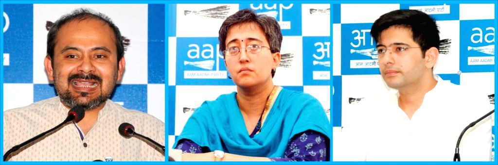 New Delhi: AAP leaders Dilip Pandey, Atishi Marlena and Raghav Chadha three of the six candidates who will be contesting parliamentary constituencies in the New Delhi. (Photo: IANS) - Dilip Pandey