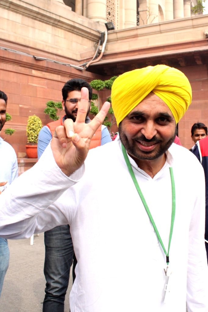 AAP MP from Sangrur Bhagwant Mann at the Parliament on the second day of the budget session in New Delhi, on Feb 24, 2015.
