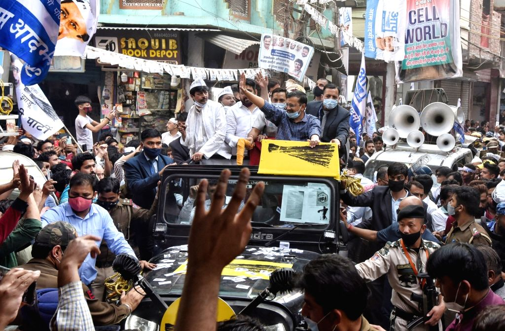 New Delhi: AAP National Convener and Delhi Chief Minister Arvind Kejriwal  hold the Road show for election campaign councilors  at Seelampur, in North East Delhi, India on Thursday 25th February 2021. (Photo: IANS) - Arvind Kejriwal