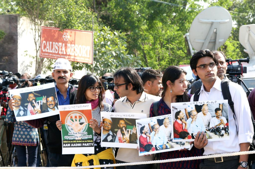 AAP workers outside the venue of national executive meeting of the party at Kapashera in New Delhi, on March 4, 2015.