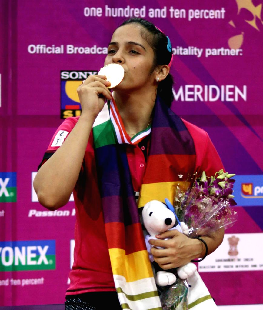 Ace shuttler Saina Nehwal after winning the women's singles title of the India Open Superseries at the Siri Fort Sports Complex in New Delhi, on March 29, 2015.
