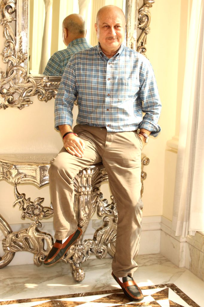 Actor Anupam Kher during promotion of his upcoming film `Baby` in New Delhi, on Jan 19, 2015.