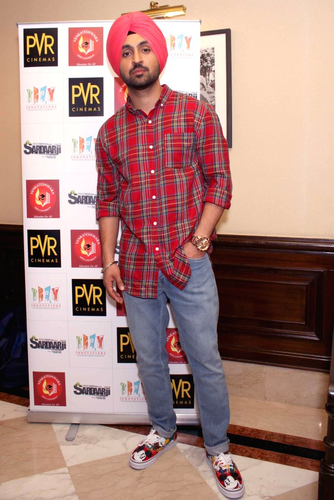 Actor Diljit Dosanjh during a press conference of his upcomming film ``Sardaar Ji`` in New Delhi on June 19, 2015. - Diljit Dosanjh