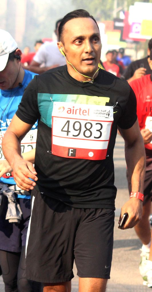 Actor Rahul Bose who participated in Airtel Delhi Half Marathon at Jawaharlal Nehru Stadium in New Delhi on Nov 23, 2014.