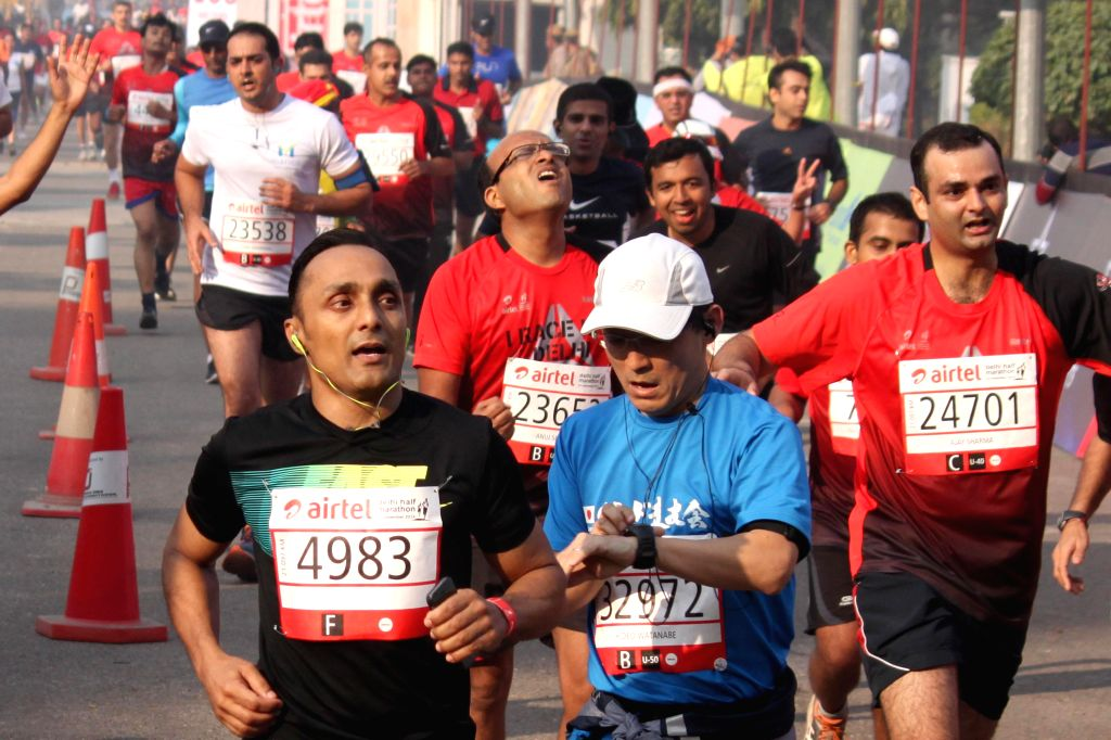 Actor Rahul Bose who participates in the Airtel Delhi Half Marathon at Jawaharlal Nehru Stadium in New Delhi on Nov 23, 2014.