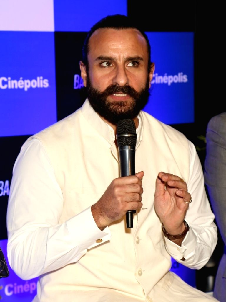 """:New Delhi: Actor Saif Ali Khan at a press conference during the promotion of his upcoming film """"Baazaar"""" in New Delhi on Oct 22, 2018. ."""