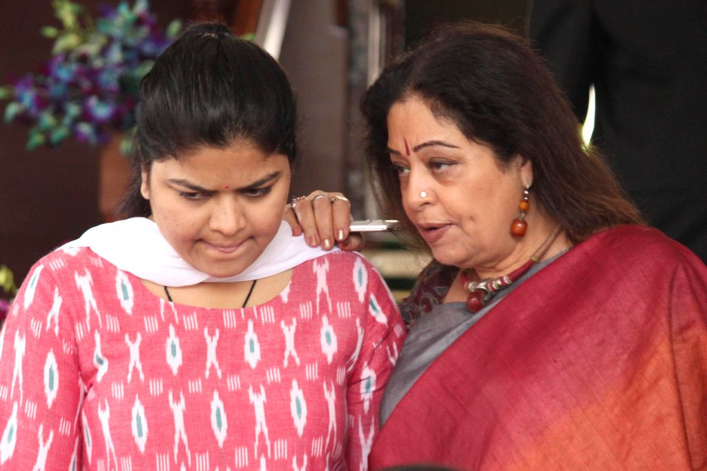 Actor turned politician Kirron Kher and BJP MP Poonam MahajanPoonam Mahajan at the Parliament on the second day of the budget session in New Delhi, on Feb 24, 2015. - Kirron Kher