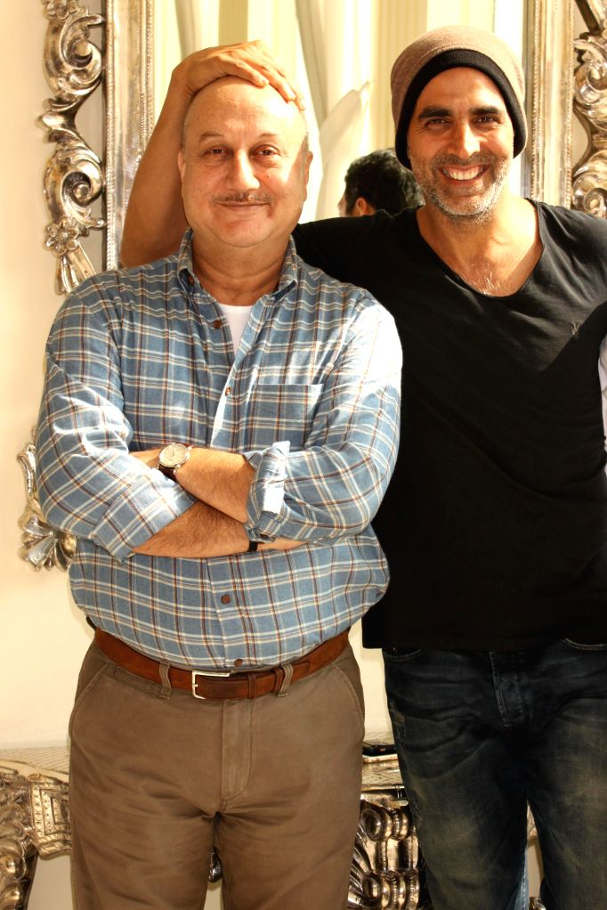 Actors Akshay Kumar and Anupam Kher during promotion of their upcoming film `Baby` in New Delhi, on Jan 19, 2015.