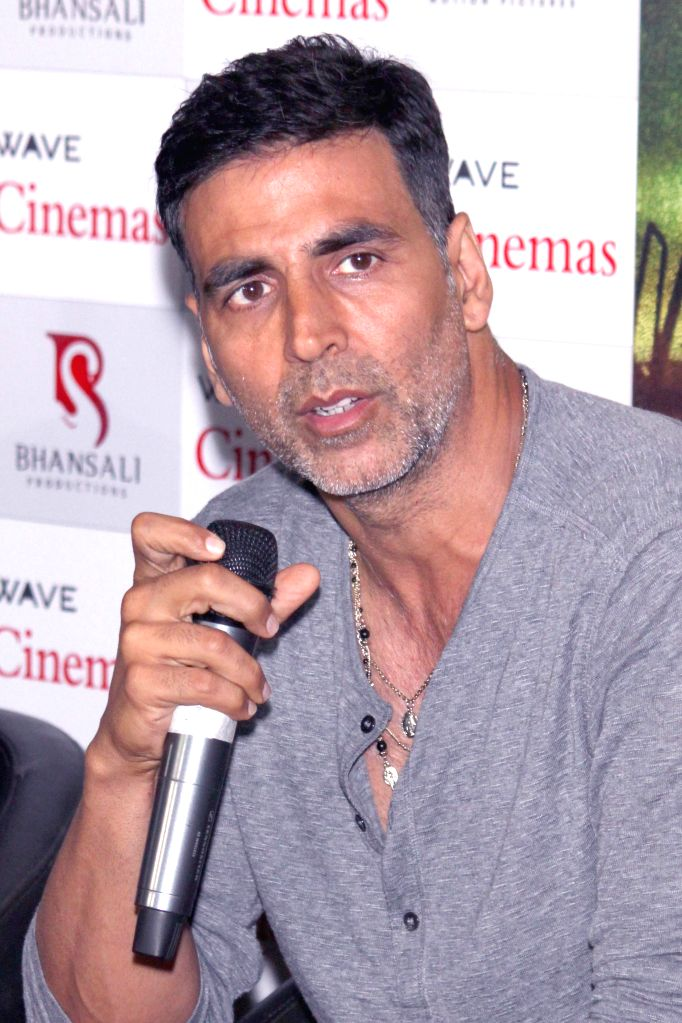 Actors Akshay Kumar  during a press conference regarding his upcoming film `Gabbar Is Back` in Noida, on April 24, 2015.