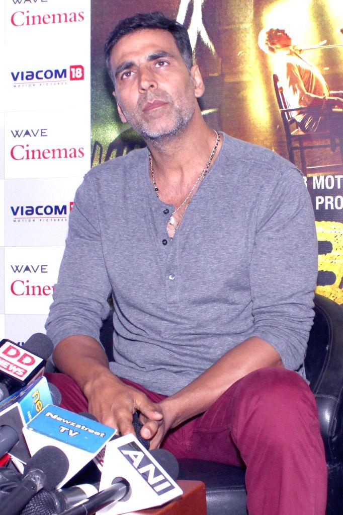 Actors Akshay Kumar  during a press conference regarding his upcoming film `Gabbar Is Back` in Noida, on April 24, 2015.