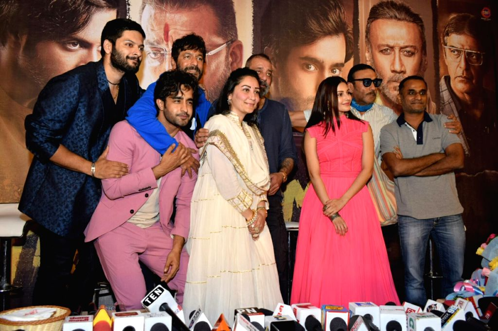 "New Delhi: Actors Amyra Dastur, Satyajeet Dubey, Ali Fazal, Chunky Pandey, Sanjay Dutt, his wife and producer Maanayata Dutt, actor Jackie Shroff and director Deva Katta at the trailer launch of their upcoming film ""Prassthanam"" in New Delhi on Aug 2 - Jackie Shroff, Amyra Dastur, Satyajeet Dubey, Ali Fazal, Chunky Pandey, Sanjay Dutt and Maanayata Dutt"