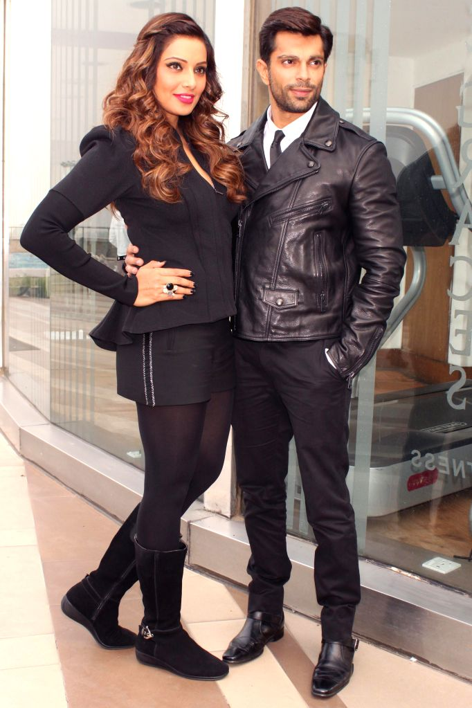 Actors Bipasha Basu and Karan Singh Grover during a press conference to promote their upcoming film `Alone` in New Delhi, on Jan 12, 2015. - Bipasha Basu and Karan Singh Grover