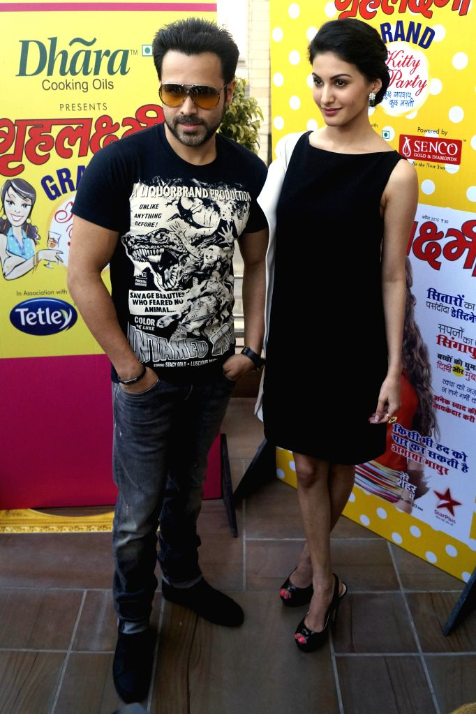 Actors Emraan Hashmi and Amyra Dastur during the promotion of their upcoming film ``Mr. X`` in New Delhi on April 4, 2015.