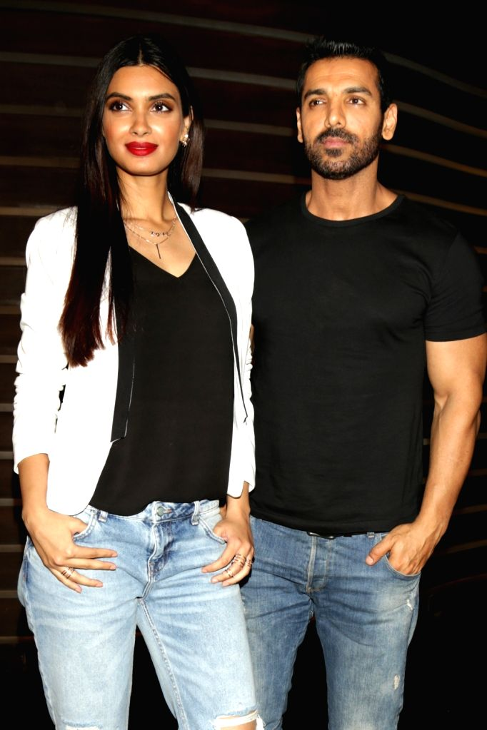 """New Delhi: Actors John Abraham and Diana Penty during the promotions of their upcoming film """"Parmanu: The Story of Pokhran"""", in New Delhi on May 22, 2018. - John Abraham and Diana Penty"""