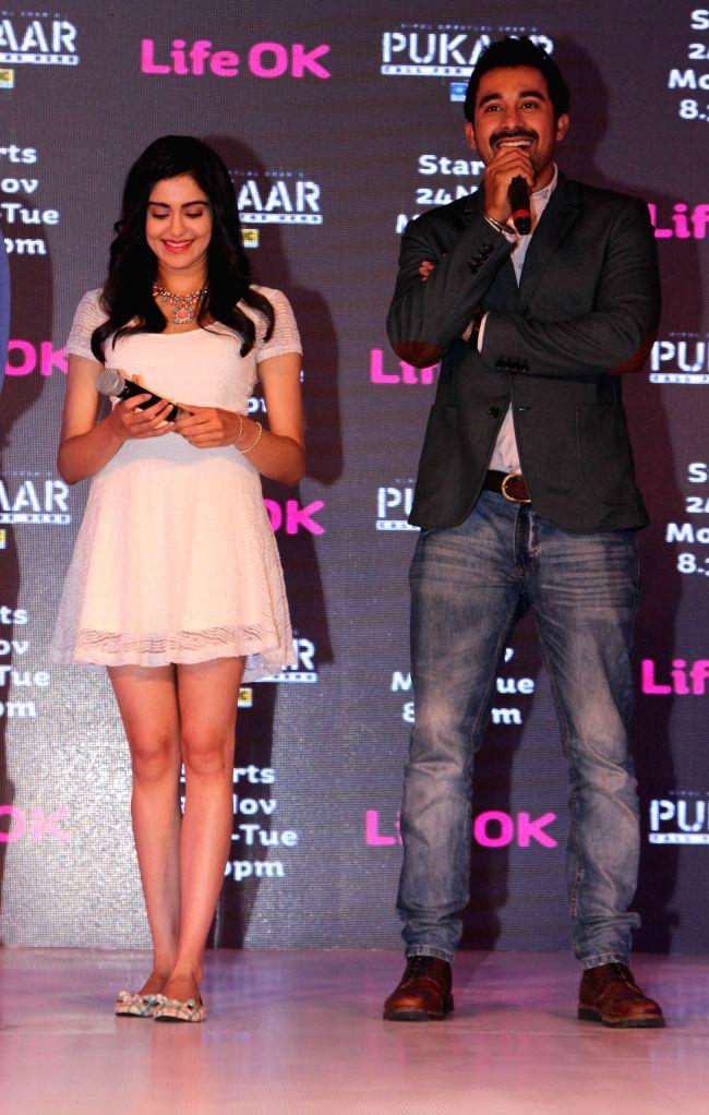 Actors Rannvijay Singh and Adah Sharma during screening of Pukaar — Call For The Hero, an action drama series in New Delhi, on Nov 12, 2014. - Rannvijay Singh and Adah Sharma